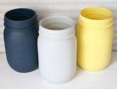 Painted Mason Jars - Navy, Grey, and Yellow Painted Mason Jars- Wedding Decor- Baby Shower Decor- Home Decor- Housewares