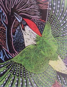 Annie Soudain 'Kingfisher' - linocut design