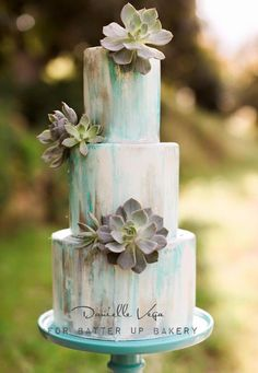 Blue Gray Watercolor Cake with Fresh Succulents by A Piece of Cake