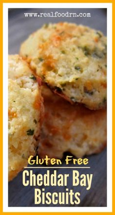 Gluten Free Cheddar Bay Biscuits. Cheesy and delicious just like the biscuits they serve at Red Lobster, only without the gluten! Perfect with your favorite seafood soup. I could eat the whole batch by itself! realfoodrn.com