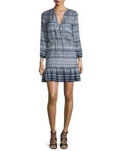 rewardStyle Veronica Beard Agathe Silk Multipattern Dress, Blue