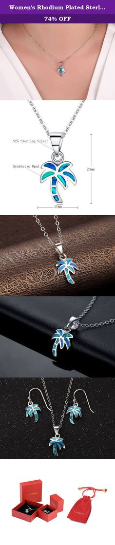 Women's Rhodium Plated Sterling Silver Synthetic Blue Opal Mini Palm Tree Pendant Necklace With Chain. Canmiya committed herself to providing perfect jewelry and top notch service. Just feel free to contact us when you need help. We are always here ready to help you! Sterling Silver History Experts believe that silver alloy, used today as sterling silver, originated in continental Europe in the 12th century. Pure silver was found to be a soft and easily damageable material. When combined...