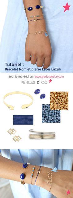 Tutoriel bracelet nom et petits bracelets gold filled Lapis Lazuli, Girl Blog, Beads And Wire, Clay Jewelry, Jewellery, Jewelry Making, Jewels, Handmade, Stitches