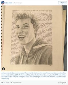 Shawn Mendes Fan Art: Woah! Truly amazing detail in this sketch by @Savsart.