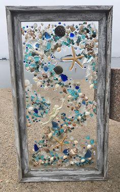 Beach Glass Mermaid and Starfish in Large Barn Wood Frame