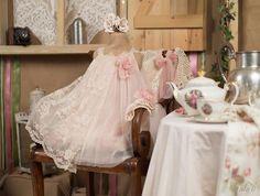 Βαπτιστικά ρούχα, φόρεμα Vinte li με δαντέλα 2202