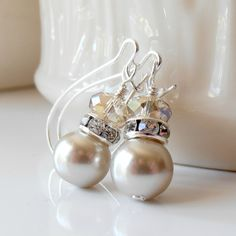 Bridesmaid Earrings, Champagne Pearl Dangles with Beige Crystals in Silver, Beaded Handmade Wedding Jewelry. $11.00, via Etsy.