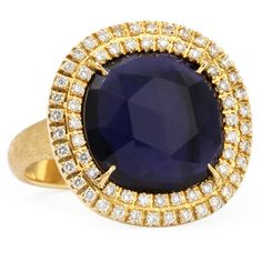 Jaipur Sunset 18kt Gold Double-Diamond Lolite Ring - Marco Bicego
