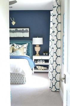 navy and white bedroom best navy master bedroom ideas on navy bedrooms navy blue and white bedroom curtains nighslee mattress protector mattress store Navy Master Bedroom, White Bedroom Design, Bedroom Colors, Bedroom Ideas, Bedroom Bed, Navy Curtains Bedroom, Bedroom Neutral, Bedroom Designs, Navy Bedroom Decor