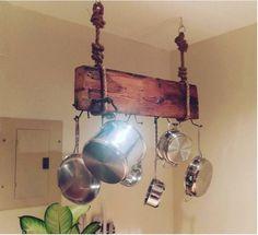 Hanging wooden pot rack More