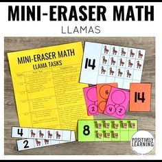 Mini-erasers are the perfect math manipulative! These math task cards coordinate with the adorable llama-themed mini-erasers from Target's Dollar Spot Bulls Eye, but you can easily substitute your favorite math manipulative. #mathcenters #minierasers #llamas