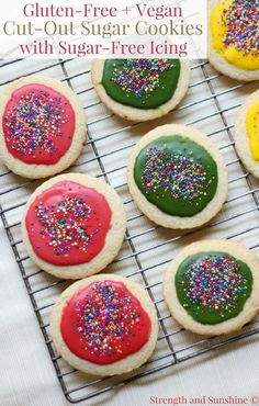 Gluten-Free + Vegan Cut-Out Sugar Cookies with Sugar-Free Icing gluten free icing - Gluten Free Recipes Gluten Free Icing, Sugar Free Icing, Gluten Free Treats, Gluten Free Cookies, Vegan Gluten Free, Gluten Free Recipes, Sugar Cookies, Vegan Recipes, Paleo