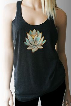 Blue Lotus Yoga Workout Tank  Super Soft Heather Black Tri-Blend Tank - Great for working out Also available in other colors, see drop down or check other listings in my shop https://www.etsy.com/shop/TShirtAddict?ref=hdr_shop_menu  -50% polyester/25% ring-spun combed cotton/25% rayon -32 singles for extreme softness -Pre-shrunk for reduced shrinkage  Available in Small thru XL  SMALL: Length- 27 1/2 - Chest Width- 32  MEDIUM: Length- 28 - Chest Width- 34 LARGE: Length- 28 3/4 - Chest Width…