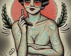 Aleta melancólica impresión del arte del por ParlorTattooPrints