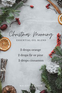 This DIY essential oil blend smells like Christmas morning. Orange, evergreen, and cinnamon bring together the best holiday scents.