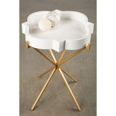 Statements by J Joslyn Metallic Gold/White Metal/Wood Tray-top Side Table, White/Gold white/ gold