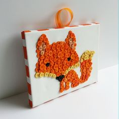 Button Art, Animal, Fox, Orange, Wrapped Canvas, 8x10 by HydeParkHome on Etsy