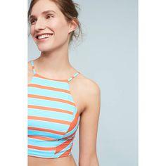 Allihop Devon High-Neck Bikini Bikini Top ($68) ❤ liked on Polyvore featuring swimwear, bikinis, bikini tops, bright red, red bikini, high neck swimsuit top, floral bikini, bikini swimwear and red bikini swimwear