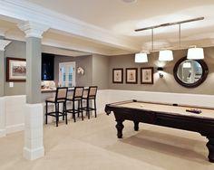 Nice neutrals make the basement look larger