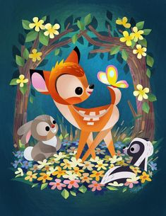 Bambi Art by Joey Chou Disney Kunst, Arte Disney, Disney Fan Art, Disney Magic, Disney Love, Bambi Disney, Disney Disney, Disney Illustration, Cute Illustration
