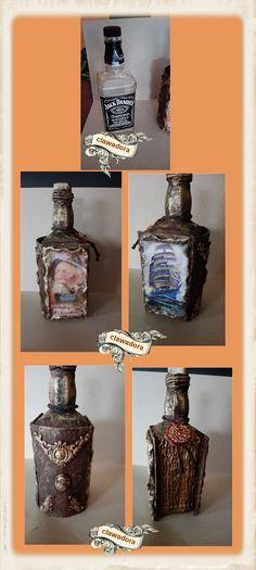Diese Flasche habe ich umgestaltet. Die Idee stammt aus dem Netz Master Class, Perfume Bottles, Books, Decorated Bottles, Mesh, Flasks, Tutorials, Libros, Book