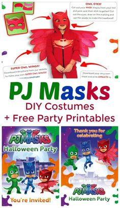 Have fans of Disney's PJ Masks? Get easy DIY Halloween Costumes for your favorite PJ Masks hero! Includes Owlette, Catboy, and Gekko. Plus free Halloween party printables, like PJ Masks party invitations, party bunting, and a PJ Masks printable wrap for your Halloween bucket.