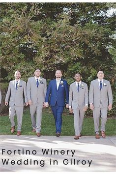 Groomsmen walking GQ style. Lauren and Joe's wedding at Fortino Winery in Gilroy, California by Jen Vazquez Photography.  They had blue and pale pink in the green of the venue -- it was stunning #wedding #fortinowinery #weddinginspiration Wedding Themes, Wedding Vendors, Wedding Styles, Pink Wedding Colors, Blue Wedding, Photography Names, Wedding Photography, Gilroy Gardens, Gilroy California