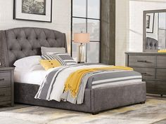 picture of Urban Plains Gray 5 Pc Queen Upholstered Bedroom from Queen Bedroom Sets Furniture - June 29 2019 at Furniture Sets For Sale, Bedroom Furniture Sets, Bedroom Sets, Home Furniture, Bedroom Decor, Kitchen Furniture, Queen Bedroom, Furniture Showroom, Master Bedrooms