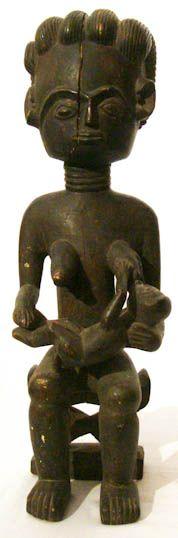 Ashanti Black Painted Sitting Figure #494   Sitting Dolls   Artifacts — Deco Art Africa - Decorative African Art - Ethnic Tribal Art - Art Deco