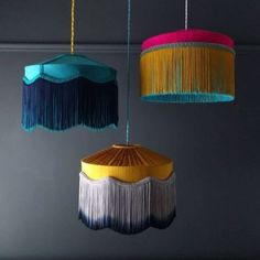 """Tassel lampshades //""""T I F F A N Y Collection hanging loud and proud. Available in small, medium and large sizes and in all colours to suit your interior! Home Decor Trends, Diy Home Decor, Room Decor, Decoration Inspiration, Interior Inspiration, Decor Ideas, Luminaria Diy, Lampe Decoration, Living Room Designs"""