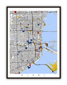 Miami Map Art / Miami Wall Art / Print / Poster от MondrianMapArt