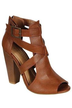 Bamboo Mash-01 Chunky Heel Sandals in Chestnut