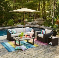 With lots of cushions and deep seating, the CANVAS Salina Collection will inspire you to take time and relax in your outdoor lounge area. #MyCANVASstyle