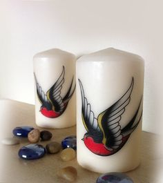 Sailor Jerry  Swallow Style Decorative Pillar by Epiphany1934, £10.00