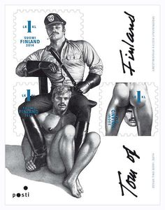 The new stamps from the Finland postal service are gay. Like really gay. Like overtly gay. The new stamps feature artwork from Tom of Finland, an artist known for the in-your-face homoeroticism of his illustrations. Tom Of Finland Art, Toms, Black White, Gay Art, Erotic Art, Postage Stamps, Rock And Roll, The Incredibles, Cartoon