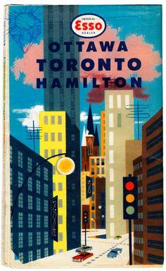 Vintage Travel Poster - Esso Ottawa Toronto Hamilton