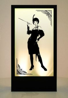 20's Standing Girl 1 Silhouette Panel but with NYC skyline instead
