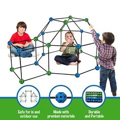 adede2313bda Amazon.com: Construction Fort Building Kit, 77 Pieces+ Storage Bag - Build  Castles Tunnels Tents Rocket- Creativity and Teambuilding - Great Discovery  of ...