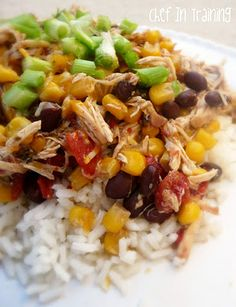 Healthy crock pot Santa Fe Chicken - would add more beans, corn, onion, tomatoes, and spices for the 1.5 pounds of chicken, but this was so easy to make and was enjoyed. We had them in tortillas with cheese.
