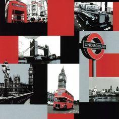 Decor Passion London Underground Wallpaper Red / Black / Silver