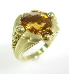 PAUL MORELLI Brushed 18kt Yellow Gold Checkerboard Cut 5ct Citrine Ring Size 6.5 at www.ShopLindasStuff.com