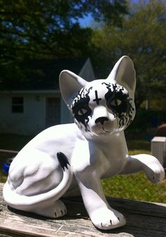 Death Metal Ceramic Cat with Painted Inverted Cross by MrsMuertos