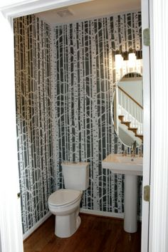 Birch Tree Stencil / Birch Tree bathroom. This is my powder room and it took a lot of time, but worth it!