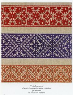 de-soie-et-d'or: three borders based on cushions from Fes & Meknes, Morocco. Ribbon Embroidery, Cross Stitch Embroidery, Embroidery Patterns, Cross Stitch Designs, Cross Stitch Patterns, History Of Morocco, Motifs Blackwork, Craft Box, Knitting Charts