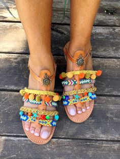 Pom Pom Leather Sandals  Alexandra Handmade