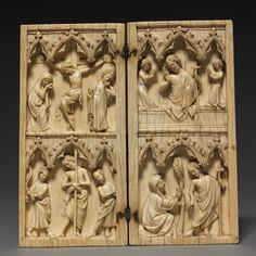Diptych: Scenes from the Passion and Afterlife of Christ, c. 1330-1350 France, Gothic period, 14th century ivory,
