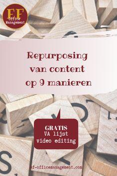 Repurposing van content op 9 manieren | EF Office Management Repurposed, Office Management, Infographic, Van, Content, Marketing, Blog, Infographics, Blogging