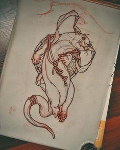 Otter dude today by AkosTattoo Japan Tattoo Design, Sketch Tattoo Design, Tattoo Sketches, Tattoo Drawings, Body Art Tattoos, Tattoo Designs, Otter Tattoo, Rat Tattoo, Insect Tattoo