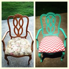 Turquoise and coral chevron revamp