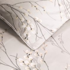 Pussy Willow Dove Grey Printed Duvet Cover